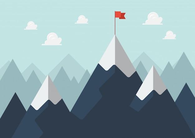 山の頂上に赤い旗