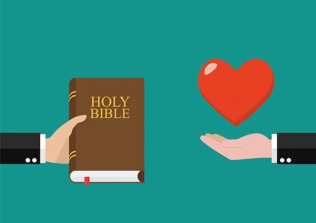 男は聖書を他の人に与え、愛を受け取る