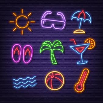 Летние неоновые иконки