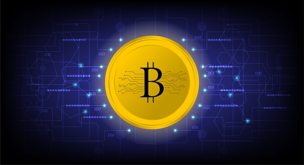 Золотая биткойна цифровая криптовалюта