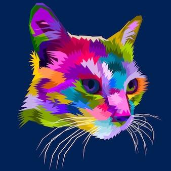 幾何学的ポップアートスタイルの猫の頭