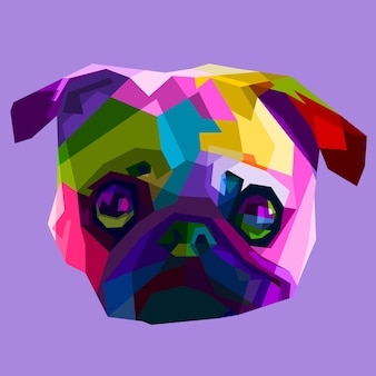 カラフルなパグの頭の犬