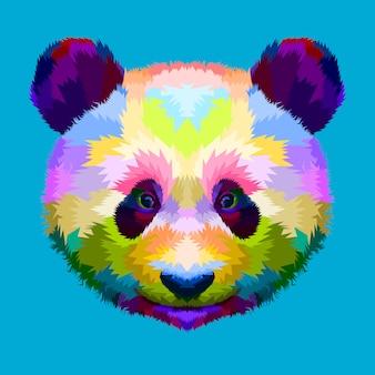 幾何学的なポップアートスタイルのカラフルなパンダの頭