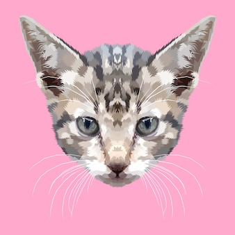 幾何学的な芸術スタイルの子猫の頭