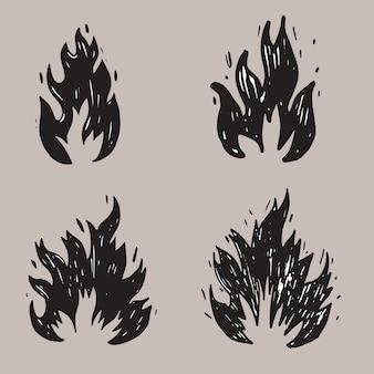 手描きの火と火の玉のセット。落書きスケッチ火。ベクトルイラスト。