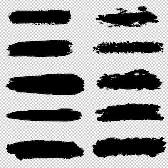 ブラシストロークのセットです。手描きのブラシグラフィック要素のコレクションです。グランジ背景。