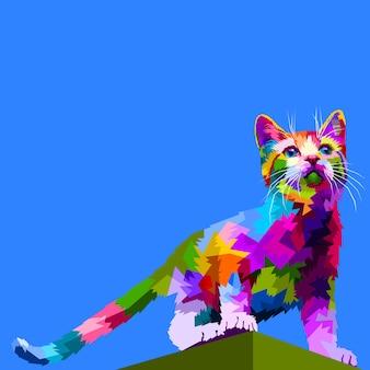 かわいい猫の上に立つ