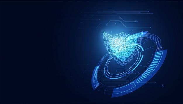 Абстрактная кибербезопасность с технологией щита синего круга