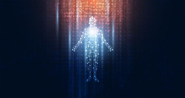 デジタル人体デジタルの抽象的な技術の未来的なコンセプト