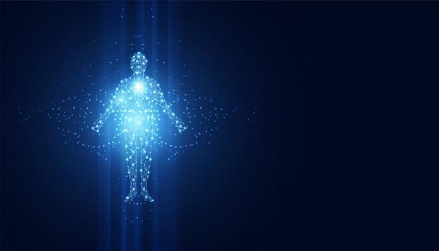 デジタル人体の抽象的な技術の未来的なコンセプト