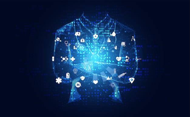 抽象的な健康医学は医者デジタル未来仮想で構成されています