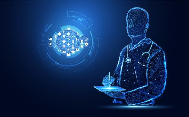 抽象的な健康医学は医者のデジタル未来を構成します