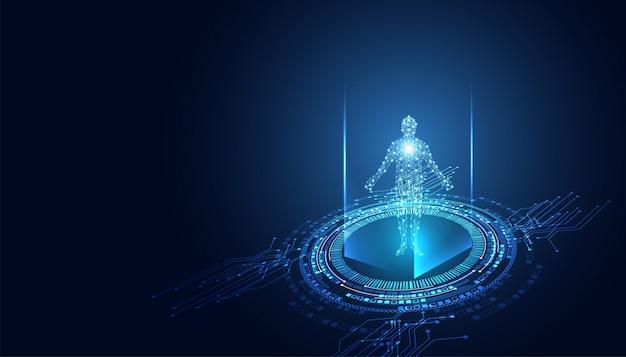 デジタル人体の抽象的なテクノロジーの未来的なコンセプト