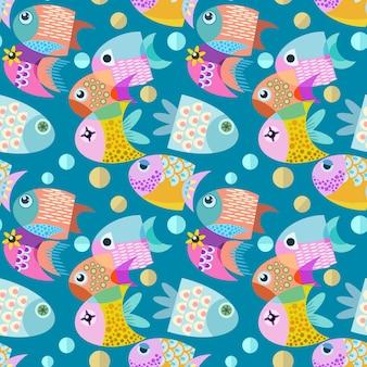 魚のグラフィックデザインのシームレスなパターン。