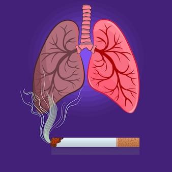 紫色の背景にタバコと肺