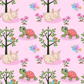 Кролик и черепаха бесшовные модели.