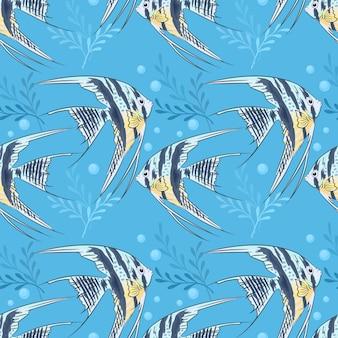 Ангел рыбы бесшовные модели на синем фоне.