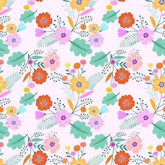花のベクトルのデザインシームレスなパターン。