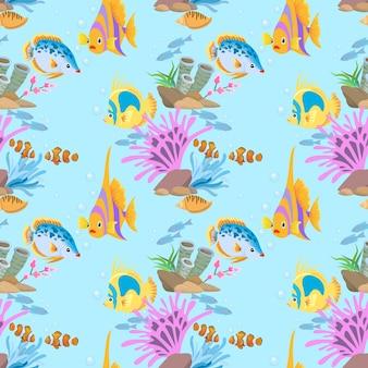 カラフルな海の魚のシームレスなパターン。