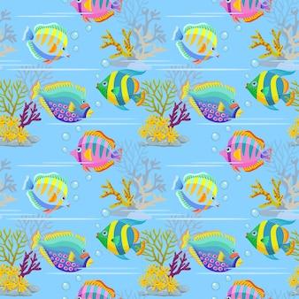 カラフルな海の魚のシームレスパターン