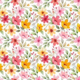 カラフルな花のシームレスなパターンのベクターデザイン。