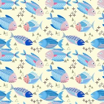 黄色の背景に魚のベクトルのデザインシームレスなパターンのファブリックテキスタイル。