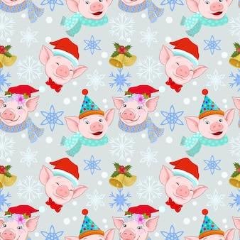 冬の背景にクリスマスの豚シームレスなパターン。