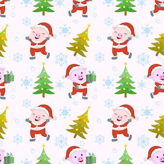 かわいい豚とクリスマスツリーのシームレスなパターン。