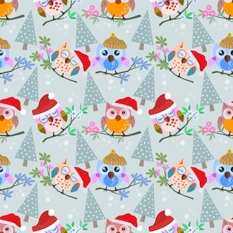 クリスマスの帽子と枝のパターンで木とフクロウ。