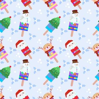 Симпатичные рождественские мороженое бесшовные модели.