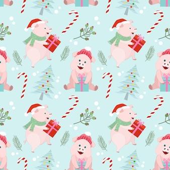 Рождественские свиньи бесшовные модели.