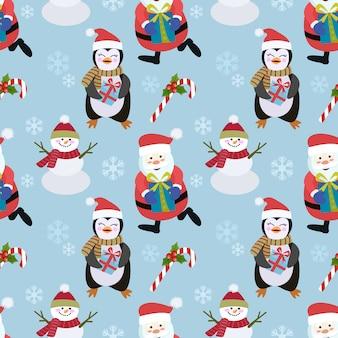 ペンギンと雪だるまのサンタシームレスパターン。