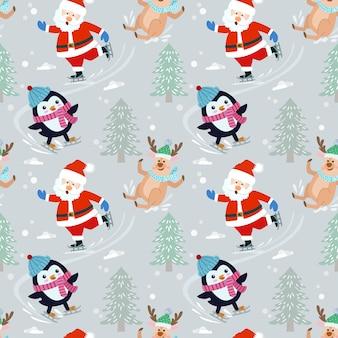 サンタクロースとスケート模様のペンギン。