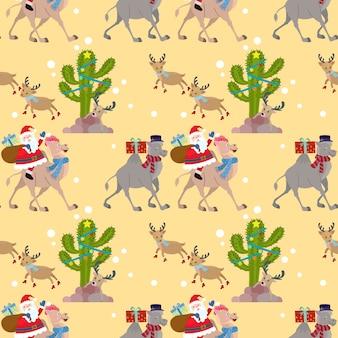 ラクダのサンタとクリスマスシームレスなパターン。