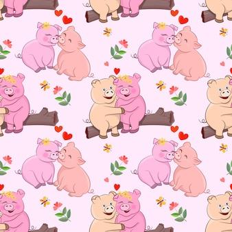 花とハートの形のシームレスなパターンとかわいい愛好家の豚。