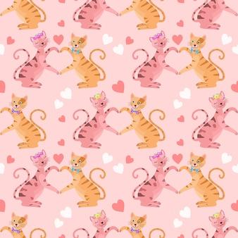 心の形のシームレスなパターンとかわいい猫の愛好家。