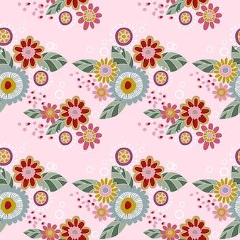 フラワーデザインのシームレスなパターンの生地の織物。