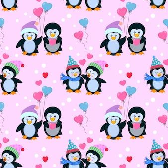 愛のシームレスパターンでかわいいカップルペンギン。