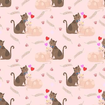 ハート形のシームレスパターンを持つかわいい猫愛好家。