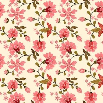 ピンクの花の織物のシームレスパターン。
