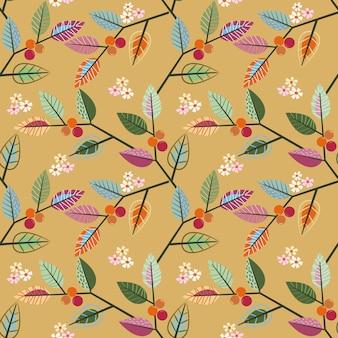 カラフルな葉のデザインのシームレスパターン