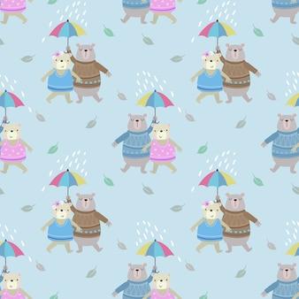 Милая пара медведь с зонтиком в дождь