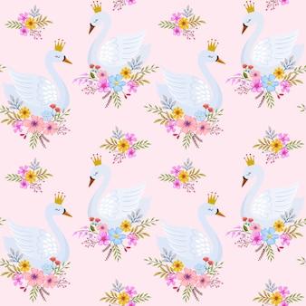 Симпатичные лебедь принцесса с цветами бесшовный фон.