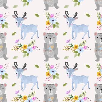 かわいいクマと鹿のシームレスパターン。