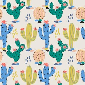 手描きのカラフルなサボテン生地のテキスタイル
