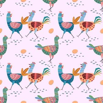 手描きかわいい鶏のシームレスパターン。