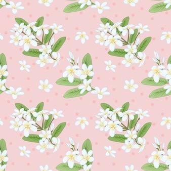 プルメリアの花のシームレスなパターン。