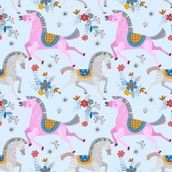 花の庭のシームレスパターン画像の馬。