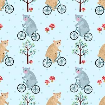 かわいいクマの森のシームレスパターンで自転車に乗って。