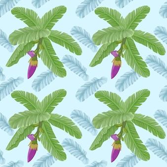 バナナの葉と花のシームレスなパターン。